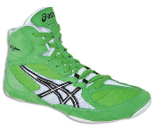 Asics Cael v5.0 Wrestling Shoes - Electric Green/White/Black