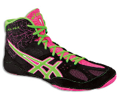 Asics Cael v6.0 Wrestling Shoes - Black/Green Gecko/Knockout Pink